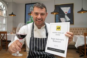 Roger Hickman with the AA Notable Wine List Award